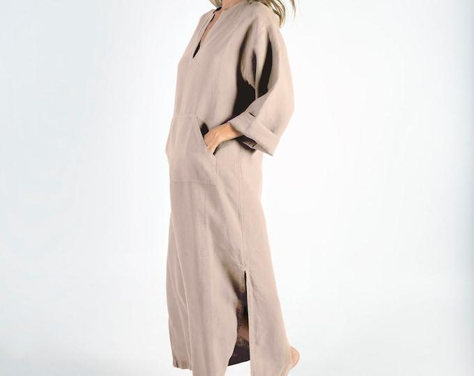 Linen caftan/dress for woman.JEFF caftan. NATURAL beige. Soft linen kaftan for women with front pocket. Unique, simple, comfortable.