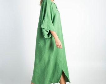 Soft Linen Dress/caftan MYSTIQUE Roman GREEN pure linen caftan. Oversized loose fit. ONESIZE. Simple, contemporary, comfortable.