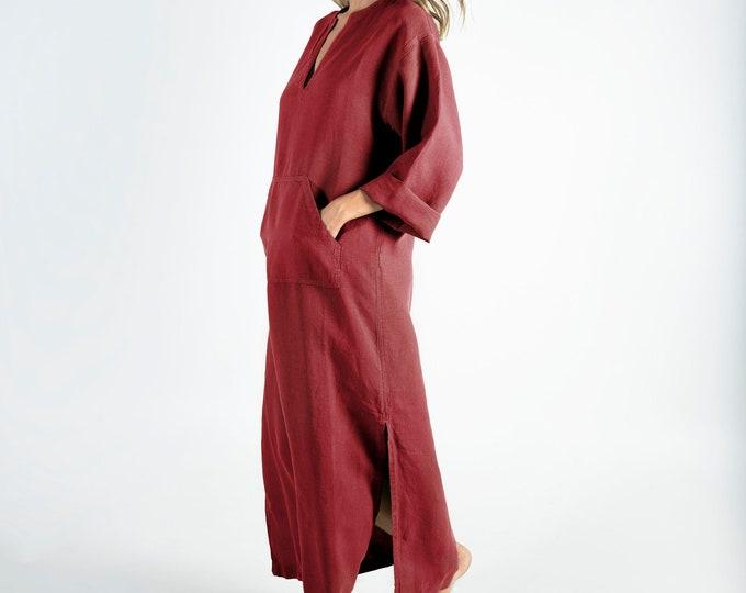 Linen caftan/dress for woman.JEFF caftan. Ancient RED. Soft linen kaftan for women with front pocket. Unique, minimal design.