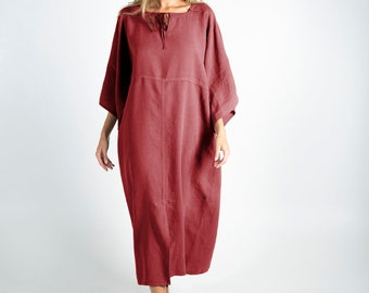 Soft Linen Dress/caftan MYSTIQUE Ancient RED pure linen caftan. Oversized loose fit. ONESIZE. Simple, contemporary, comfortable.