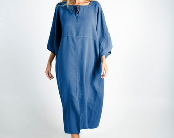 MYSTIQUE BLUE pure linen caftan. Oversized loose fit. ONESIZE. Simple, contemporary, comfortable.