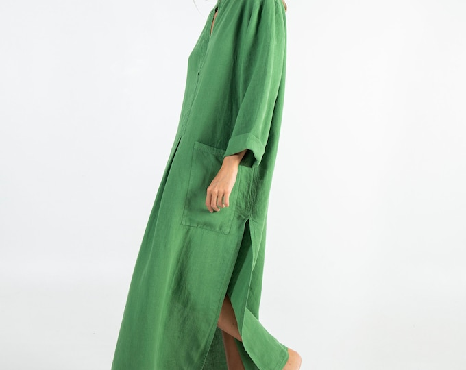 Linen caftan/dress SPA woman. Roman GREEN soft linen caftan.Loose fit dress for women.