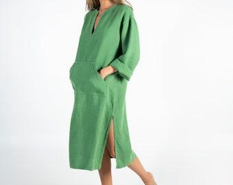 Linen caftan/dress for woman.JEFF MIDI caftan. Roman GREEN. Soft linen kaftan for women. Unique, simple, comfortable.
