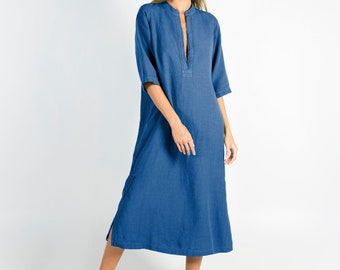 Soft Linen Dress JASMINE. BLUE.  Pure soft linen. Middle length. Half sleeves.