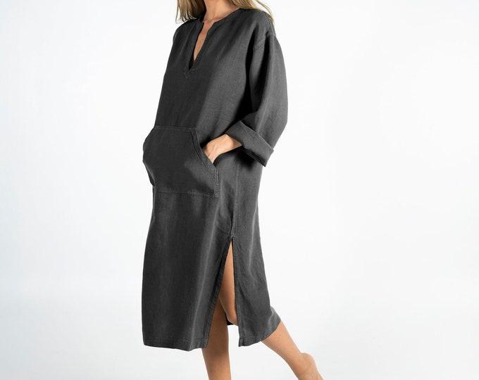 Linen kaftan/dress for woman.JEFF MIDI caftan. Anthracite BLACK. Soft linen kaftan for women. Unique, simple, comfortable.