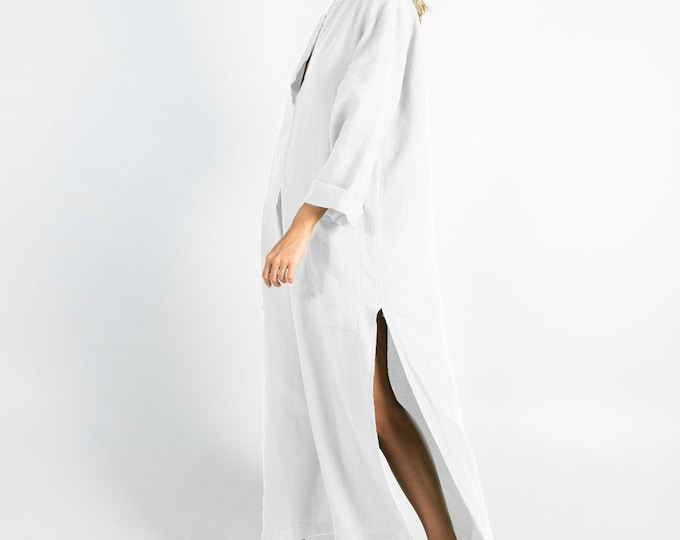 Linen caftan/dress SPA woman.Bright WHITE soft linen caftan.Loose fit dress for women.