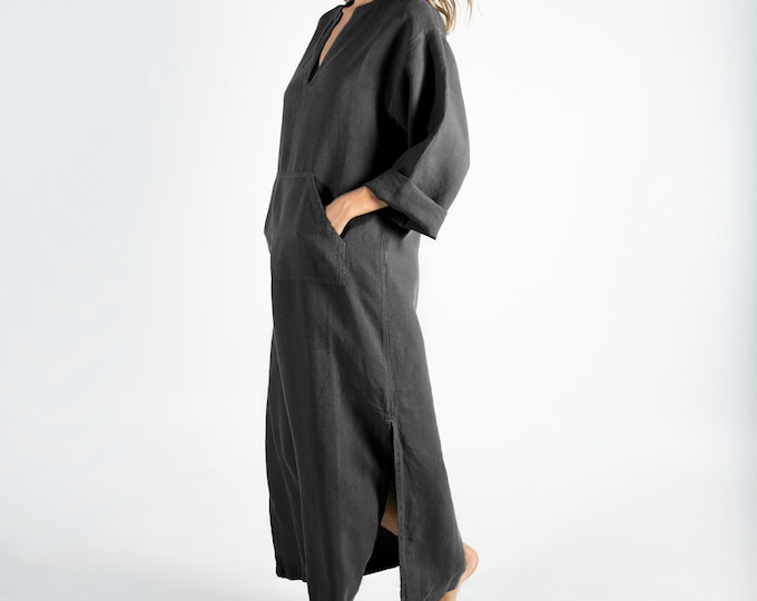 Linen kaftan/dress for woman.JEFF caftan. Anthracite BLACK. Soft linen kaftan for women with front pocket. Unique, simple, comfortable.
