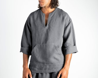 Linen top for men grey. PETRA TOP. Lead Grey pure linen Tunic for men. Simple, contemporary, comfortable, quality soft linen.