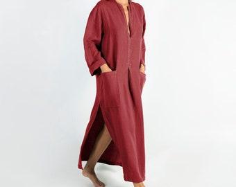 Linen kaftan/dress SPA woman. Ancient RED soft linen caftan.Loose fit dress for women.