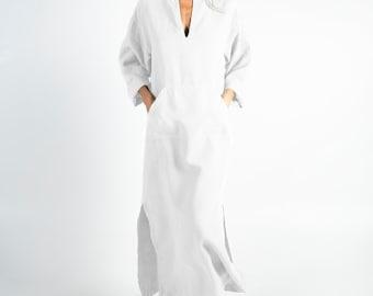 Linen caftan/dress for woman.JEFF caftan. Bright WHITE. Soft linen kaftan for women with front pocket. Unique, simple, comfortable.