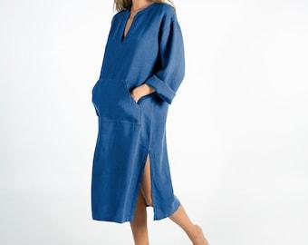 Linen caftan/dress for woman.JEFF MIDI caftan. BLUE. Soft linen kaftan for women. Unique, simple, comfortable.