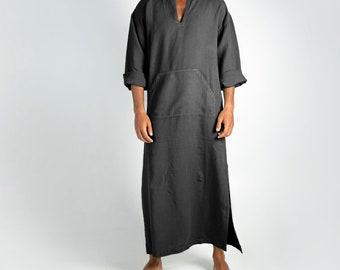 Linen MAN claftan/dress. CLASSICO. Anthracite Black pure linen tunic for men. Ultra soft 100% linen.