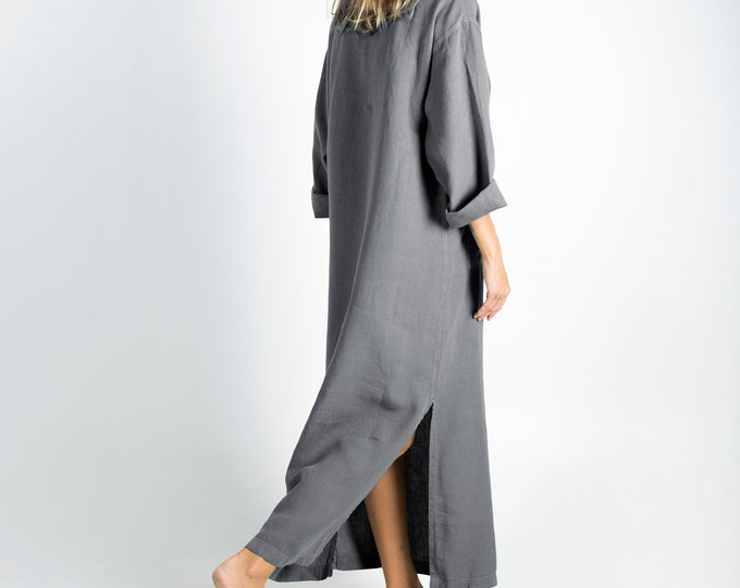 Linen caftan/dress for woman.JEFF caftan. GREY. Soft linen kaftan for women with front pocket. Unique, simple, comfortable.