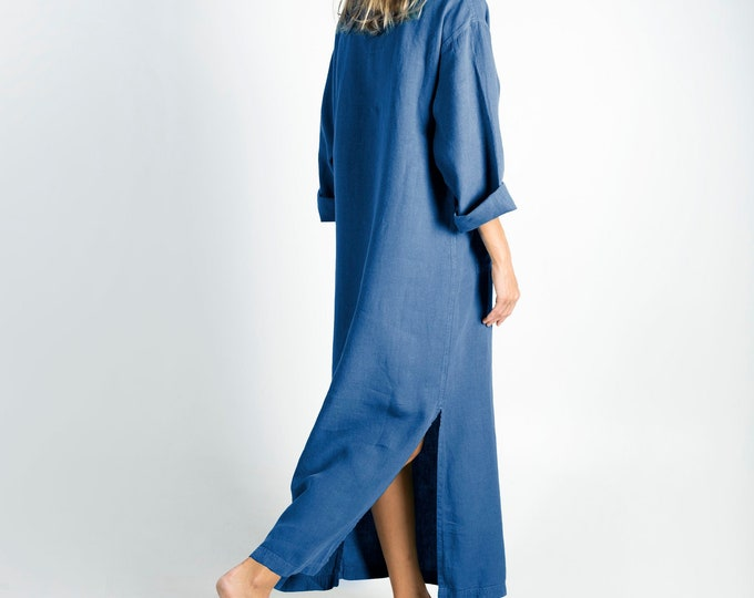 Linen caftan/dress for woman.JEFF caftan. BLUE. Soft linen kaftan for women with front pocket. Unique, simple, comfortable.