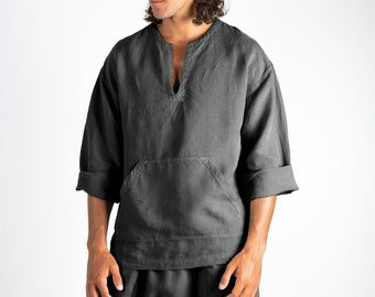 Linen top for men black.PETRA TOP. Anthracite Black pure linen Tunic for men. Simple, contemporary, comfortable, quality soft linen.