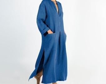 Linen kaftan/dress SPA woman. BLUE soft linen caftan.Loose fit dress for women.