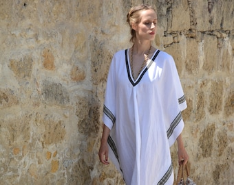 ERATO optic white ONE SIZE, tunic for women. Pure soft linen. Oversized,Loose fit.
