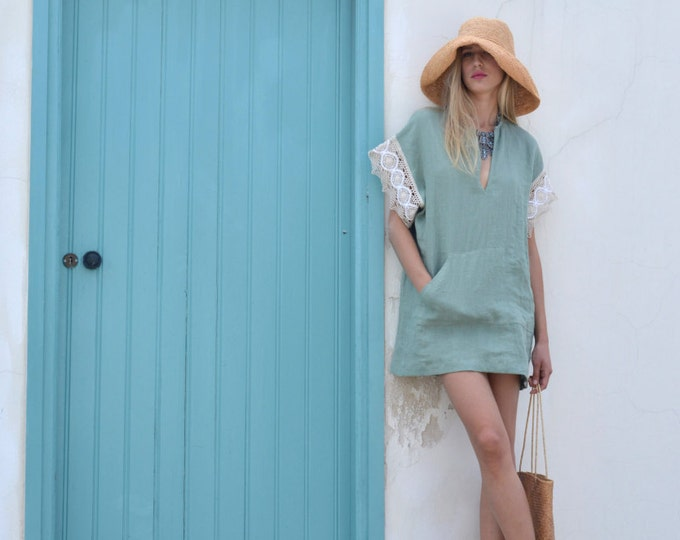 MARGOT mini. Almond green linen dress with quality cotton lace sleeves. All day stylish tunic.