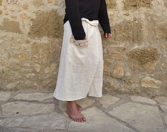 ZEUS. Men's chalk white pure linen pareo. Beach wrap around with pocket and cotton lace detail.