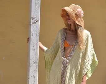 CLEO long poncho. Champaign color ultra soft linen caftan. Long beach coverup with lace.