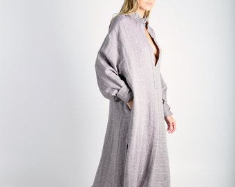 ANAIS Plum pure woven linen caftan. Oversized loose fit. ONE SIZE luxury linen tunic.