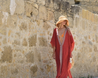 CLEO long poncho. Scarlet red dreamy kaftan. Long linen coverup. Airy tunic with lace.