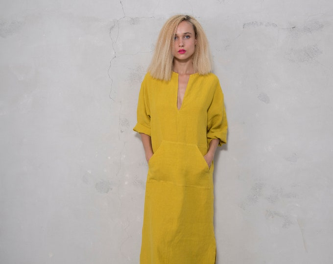 JEFF caftan. CURRY color dress. Pure pre washed linen kaftan for women with front pocket. Unique minimal design.