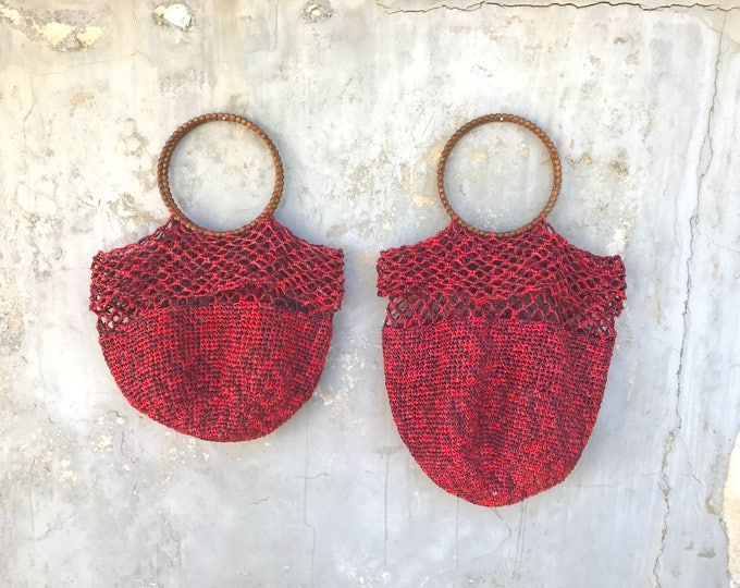 CHERRY RED RAFFIA Bag. Ultra soft straw bag. Handmade woven bag available in two sizes.