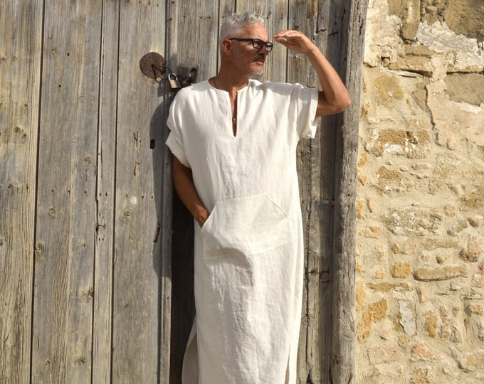 CLASSICO. Chalk white linen loungewear. Soft wrinkled kaftan with pocket. Relaxed short sleeved tunic.