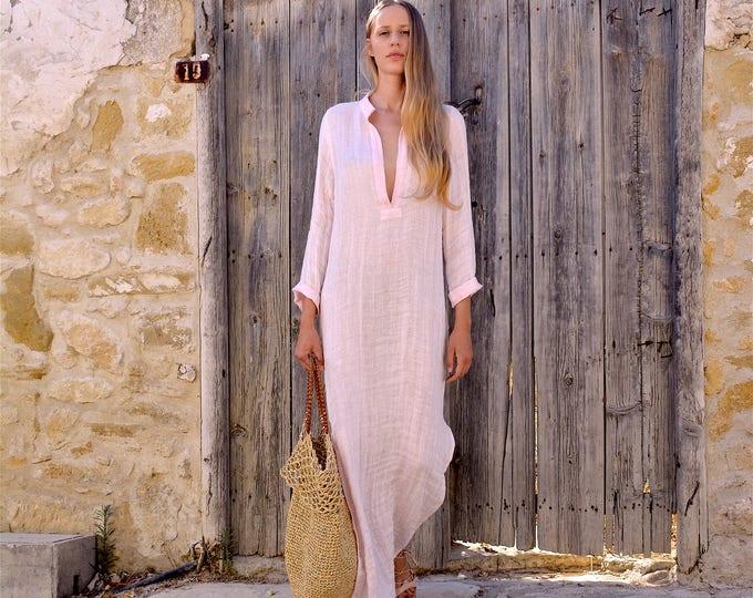 EMMA. PINK long shirtdress. Lightweight cool linen caftan.