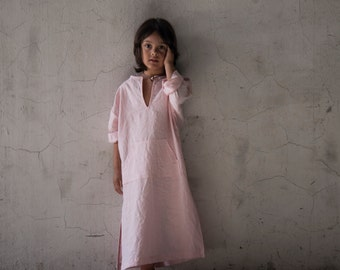 CLASSICO. Beautiful Kids pure linen caftan.Pale Rose color.