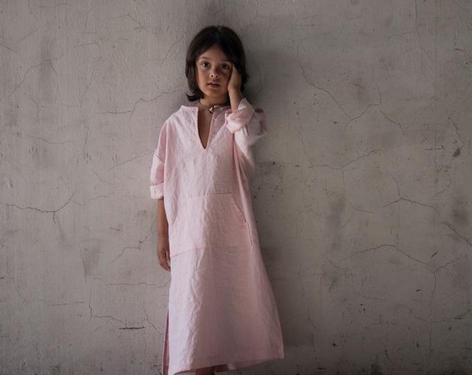 CLASSICO. Beautiful Kids pure linen caftan.Pale Rose color.