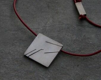 AQUARIUS. Modern men's pendant. HANDMADE-sterling silver.