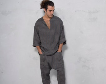 PETRA Black Striped set. Tunic and harem pants. Pure pre washed linen. Sold also separately.