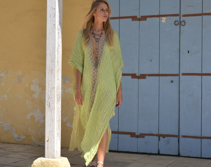 CLEO long poncho. Lime color long airy tunic coverup. Super soft linen caftan with lace.