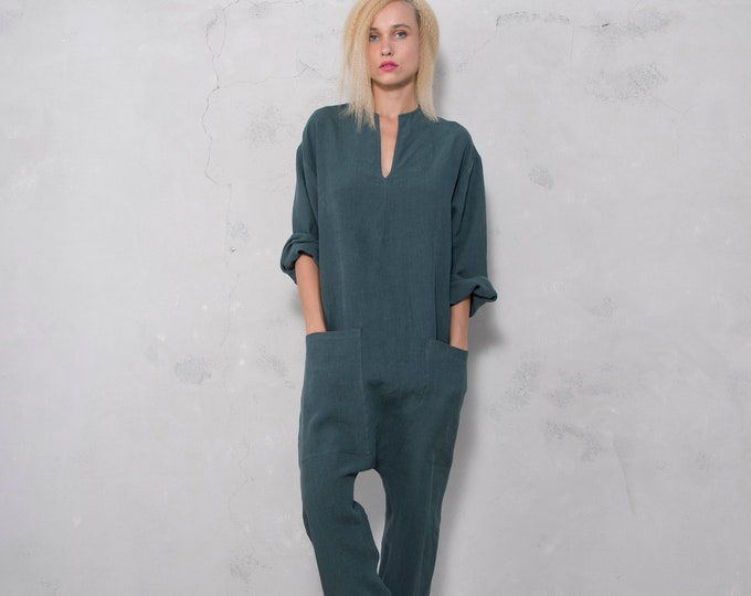 KYOTO JUMPSUIT. Women's british green linen overall. Front pockets.OVERSIZED