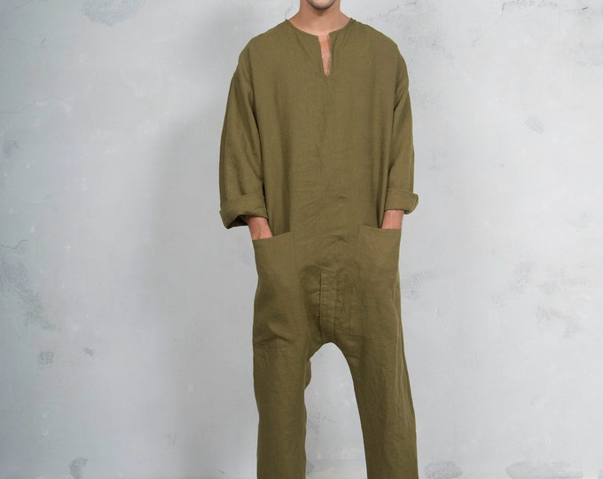 TOKYO LONG. Mens green olive linen overall. Front pockets.OVERSIZED