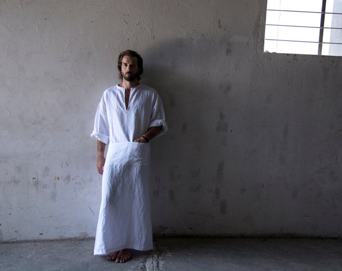 CLASSICO. Men's cool soft pure linen beach caftan. Ideal loungewear. Optic White color.
