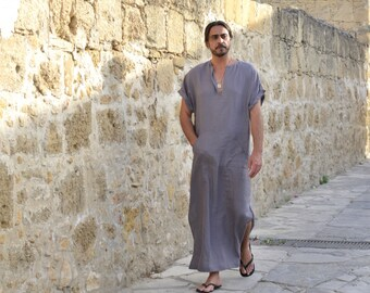 CLASSICO. Mens lead grey loose short sleeved kaftan. Pre washed quality linen tunic.