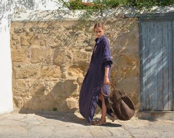 ANAIS women linen caftan. Purple striped, ONE SIZE, dress. Pure soft linen. Oversized, Loose fit.