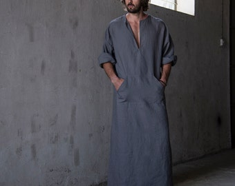 "CLASSICO. Men's stylish 100% linen homewear. Fashionable ""lead grey"" kaftan. Men's kaftan"