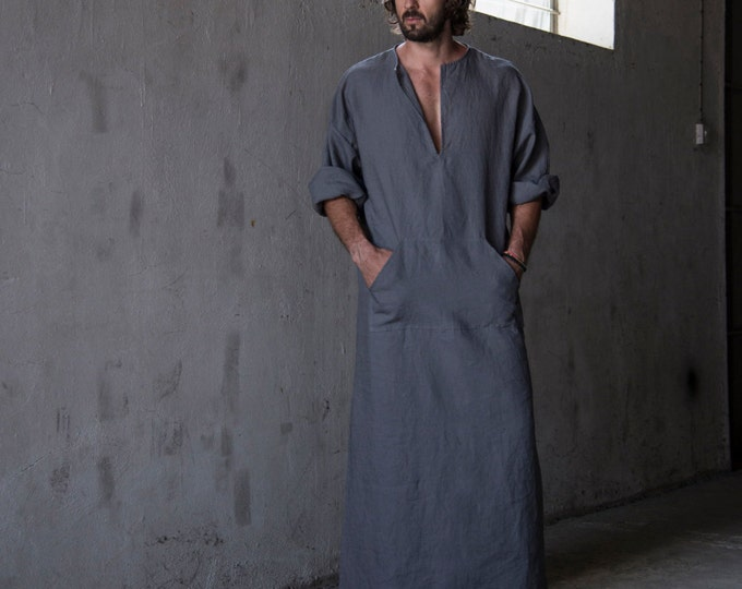 "CLASSICO. Men's stylish 100% linen homewear. Fashionable ""lead grey"" kaftan. Men's kaftan"
