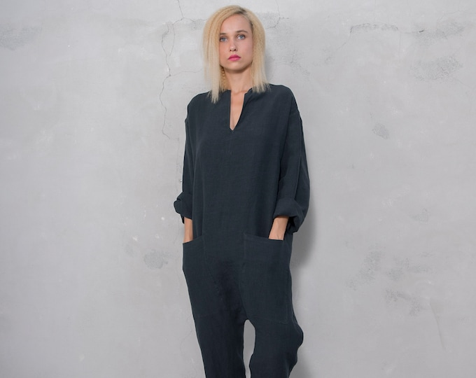 KYOTO JUMPSUIT. Women's Black linen overall. Front pockets.OVERSIZED