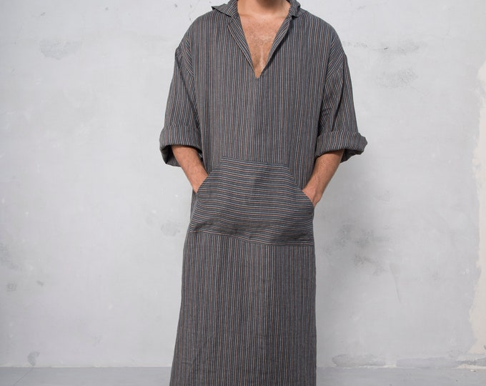 CLASSICO. Mens Black Striped linen kaftan. Front pocket. NO HOOD!