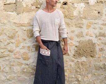 ZEUS. Men's Black pure linen pareo with pocket. Unique cotton lace detail.