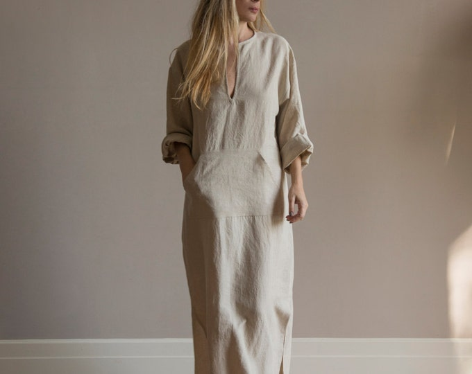 JEFF caftan. Natural colour pure linen tunic for women. Soft fabric and beautiful simple design.