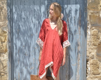 JULIE short poncho. Scarlet red ultra soft beach dress. Women's linen poncho with lace.