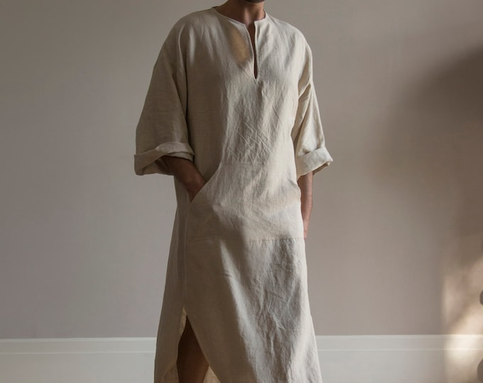 CLASSICO. Natural color pure linen tunic for men. Modern design caftan for him with front pocket.Softened fabric.