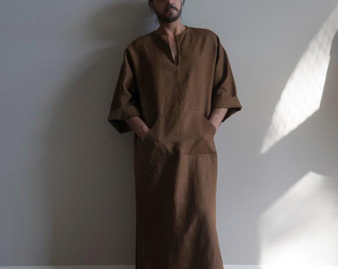 CLASSICO. Coffee Brown Men's unique tunic. Simple design pure softened linen kaftan for him.