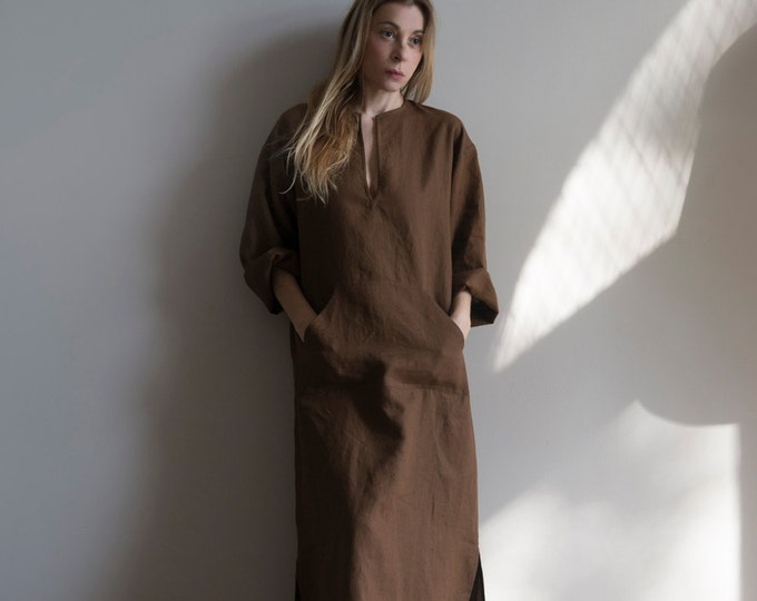 JEFF Coffee Brown Women's caftan. Soft pure linen tunic with front pocket.